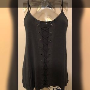 American Eagle Soft & Sexy Lace Up Tank Top Grey